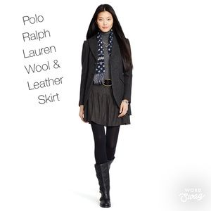 Polo Ralph Lauren Wool Pleated Leather Trim Skirt